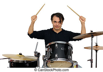 Middle aged drummer with drumsticks in his hands playing drum set. Isolated on a white background