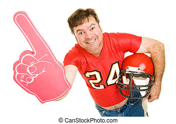 Middle Aged Footbal Fan - Enthusiastic middle aged football...