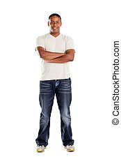 middle aged indian man isolated