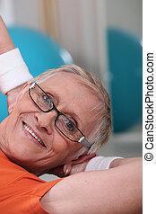 middle-aged, kvinde, ind, gymnastiksal