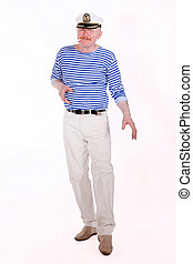 Middle aged male adult posing as ship captain