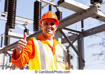 middle aged male electric engineer