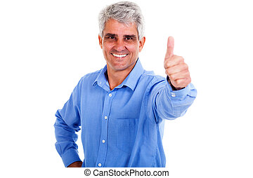 middle aged man giving thumb up - cheerful middle aged man...