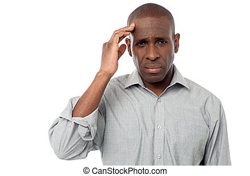 Middle aged man having headache
