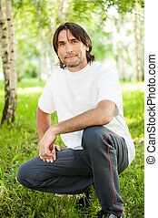 Middle-aged man in a park