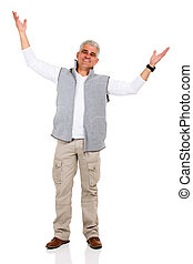 middle aged man with arms open