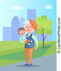 Middle-aged Man with Grandson in Hands Vector - Middle-aged...