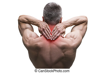Middle aged man with pain in neck, muscular male body, studio isolated shot on white background