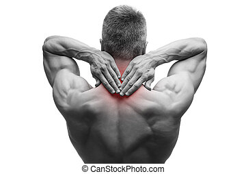 Middle aged man with pain in neck, muscular male body, studio isolated shot on white background with red dot