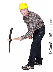Middle-aged man with pick ax