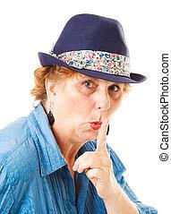 middle-aged, mulher, -, silêncio, silêncio