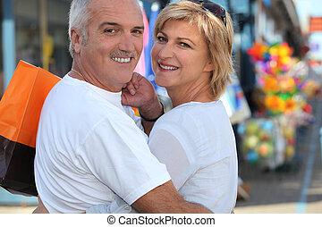 middle-aged, par, indkøb