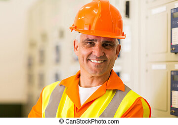 middle aged power company technical worker