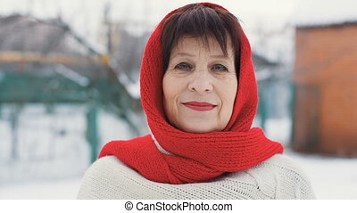 middle aged woman at winter - portrait of elegant middle...