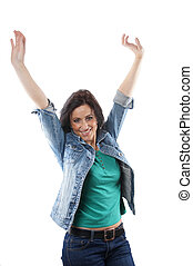 middle aged woman cheering with raised arms