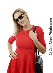 middle aged woman in red dress