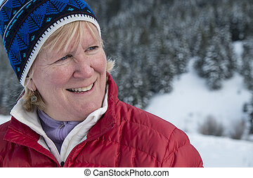 Middle aged woman in snow