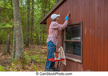 Middle aged woman painting shed