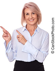middle aged woman pointing finger