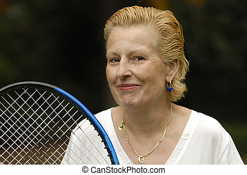 Middle aged woman, tennis