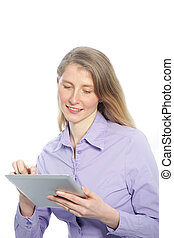 Middle-aged woman using a tablet