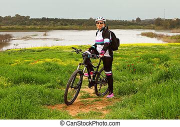 Woman with Her Mountain Bike