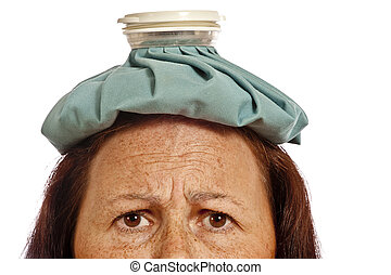 Middle-aged Woman With Ice Pack
