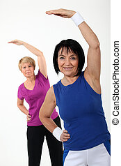 Middle-aged women in gym class