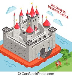Middle Ages European Royal Castle Composition - Isometric...