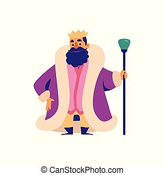 Middle Ages king fairy tale character in crown flat vector illustration isolated.
