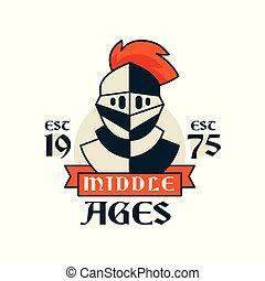 Middle ages logo, esc 1975, vintage badge or label, heraldry...