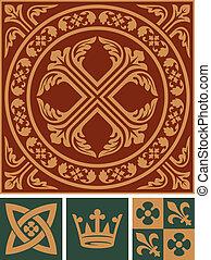 Middle ages ornament set