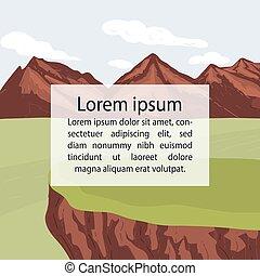 middle., beau, texte, aviateur, ton, main, illustration., endroit, vecteur, bannière, dessiné, affiche, montagne, gabarit, paysage