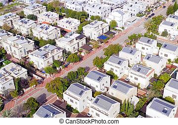 Middle class Suburban neighbourhood houses, Aerial.