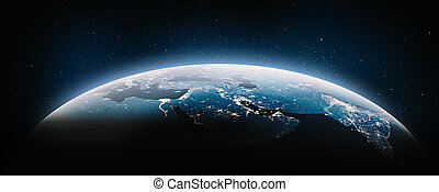 Middle East at night. Elements of this image furnished by NASA. 3d rendering