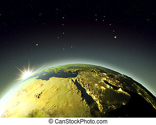 Middle East from space during sunrise