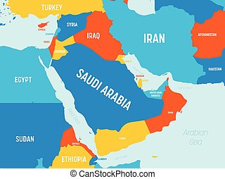 Middle East map - 4 bright color scheme. High detailed ...