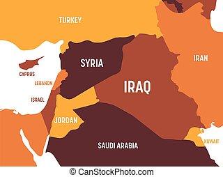 Middle East map - brown orange hue colored on dark ...