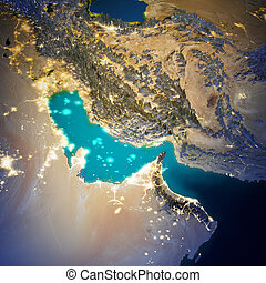 Middle East map. Elements of this image furnished by NASA. 3d rendering