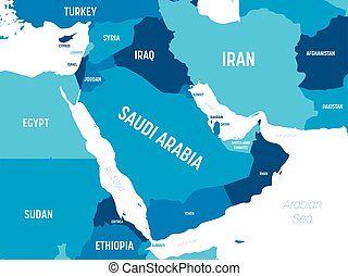 Middle East map - green hue colored on dark background. High...