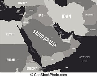 Middle East map - grey colored on dark background. High ...