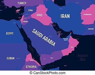 Middle East map. High detailed political map of Middle East ...