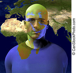 Middle East Superimposed on Mans Face. 3D rendering