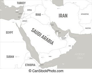 Middle East map - white lands and grey water. High detailed ...