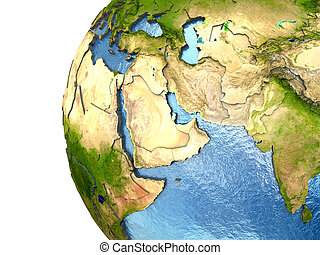 Middle East on highly detailed planet Earth with embossed continents and country borders. Elements of this image furnished by NASA.