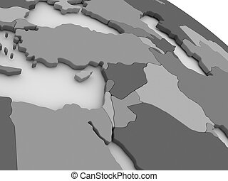 Middle East on grey 3D map
