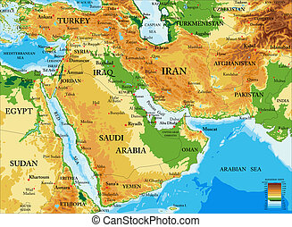 Middle East-physical map - Highly detailed physical map of...