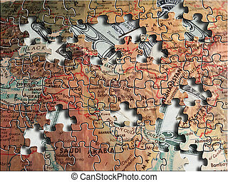 Middle East Puzzle. World order concept