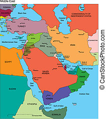 Middle East Regional Map with individual Countries, Editable Color, names. Perfect for Sales and Marketing Presentations. Countries are individual objects that can be colored and changed so you can build a regional territory map or develop an illustration. Great for building sales and marketing ...