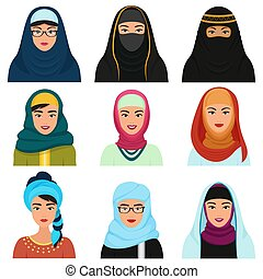 Middle Eastern female avatars set. Arabian muslim woman traditional hijab face collection.